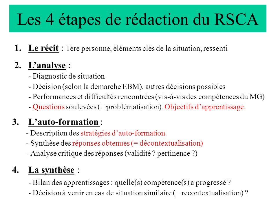 Les 4 étapes de rédaction du RSCA 3.Lauto-formation : - Description des stratégies dauto-formation.