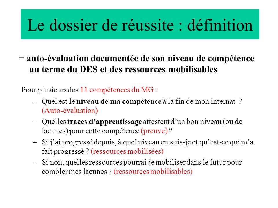 Le dossier de réussite : définition = auto-évaluation documentée de son niveau de compétence au terme du DES et des ressources mobilisables Pour plusieurs des 11 compétences du MG : –Quel est le niveau de ma compétence à la fin de mon internat .