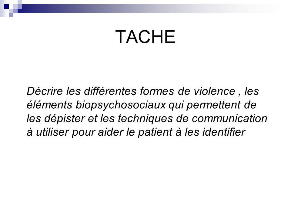 TACHE Décrire les différentes formes de violence, les éléments biopsychosociaux qui permettent de les dépister et les techniques de communication à utiliser pour aider le patient à les identifier