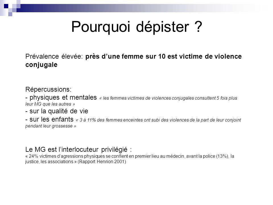 Pourquoi dépister ? Prévalence élevée: près dune femme sur 10 est victime de violence conjugale Répercussions: - physiques et mentales « les femmes vi