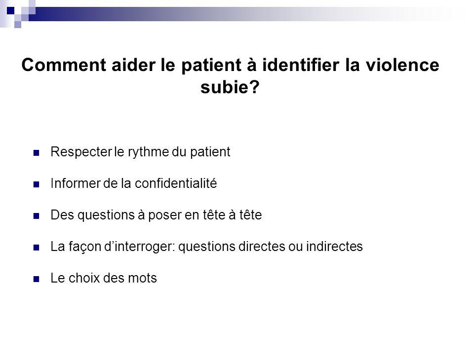 Respecter le rythme du patient Informer de la confidentialité Des questions à poser en tête à tête La façon dinterroger: questions directes ou indirec