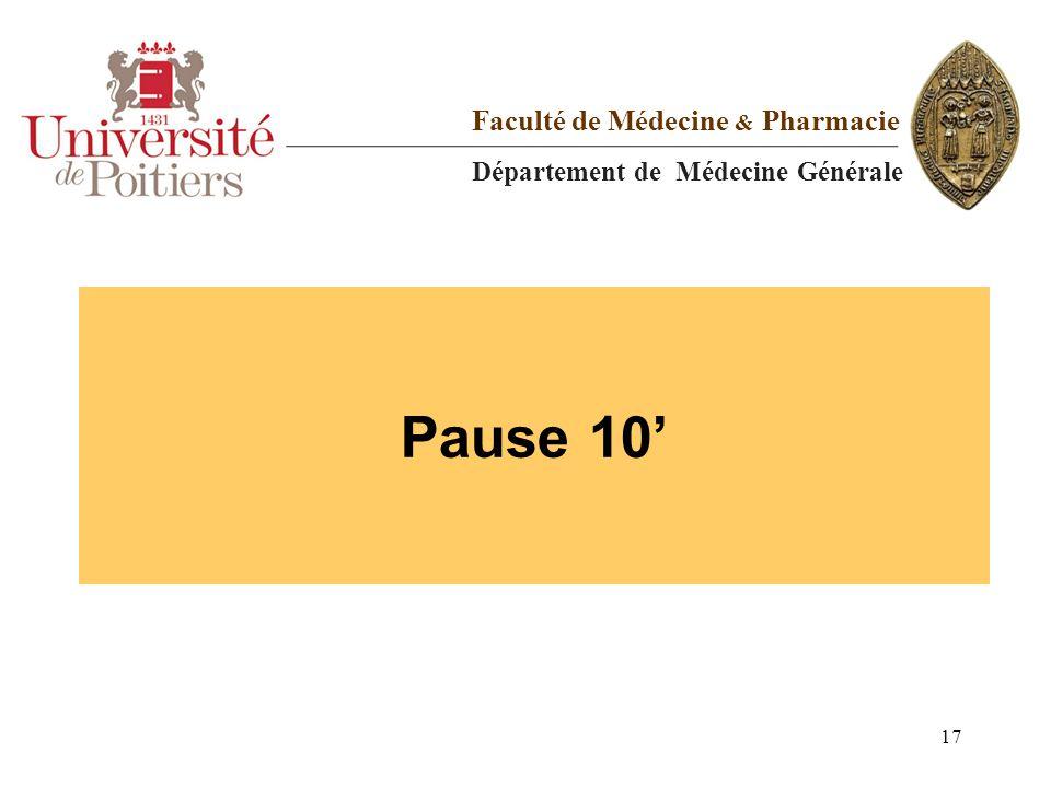 Pause 10 Faculté de Médecine & Pharmacie Département de Médecine Générale 17