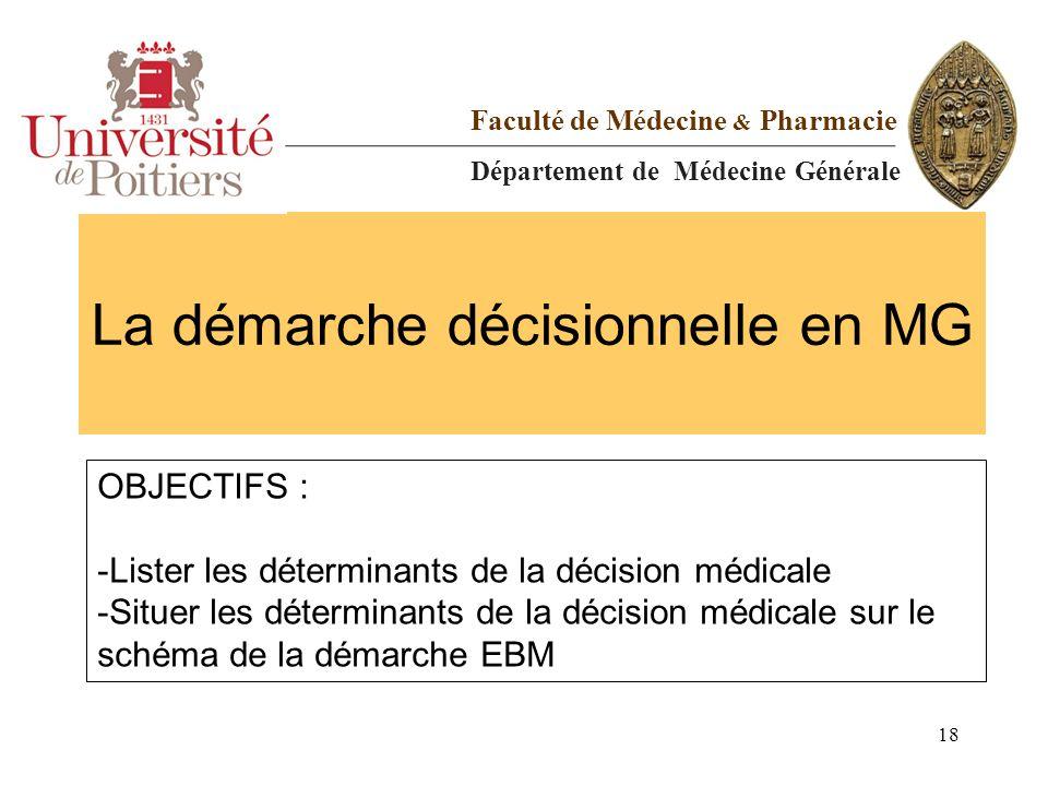 La démarche décisionnelle en MG Faculté de Médecine & Pharmacie Département de Médecine Générale OBJECTIFS : -Lister les déterminants de la décision m