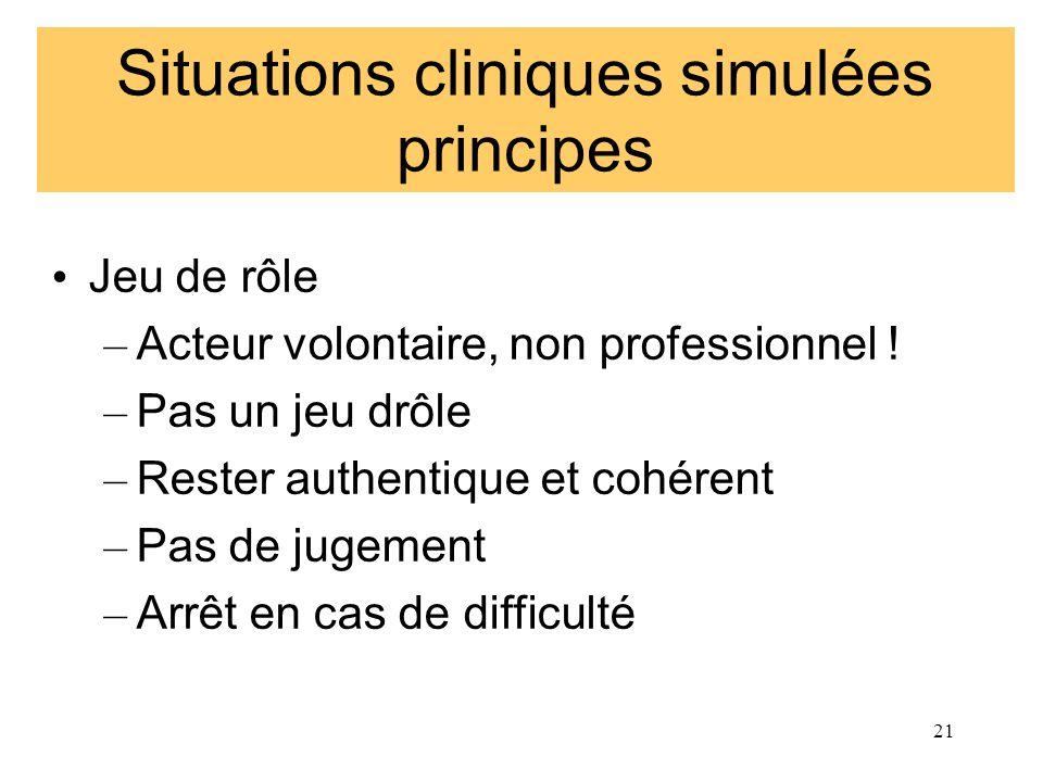 Situations cliniques simulées principes Jeu de rôle – Acteur volontaire, non professionnel ! – Pas un jeu drôle – Rester authentique et cohérent – Pas