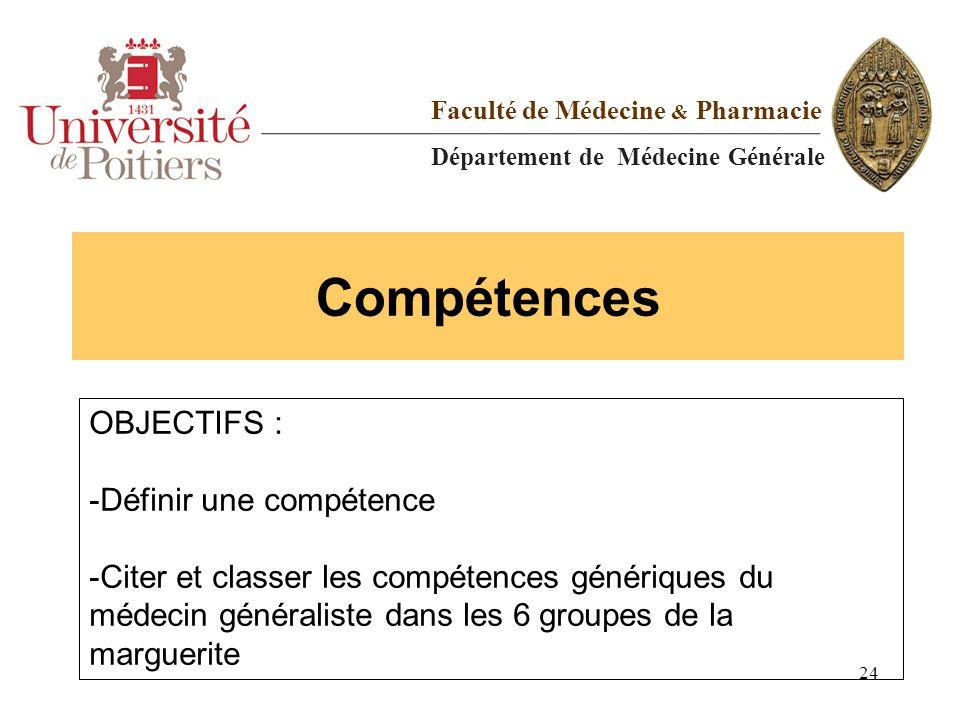 Compétences Faculté de Médecine & Pharmacie Département de Médecine Générale OBJECTIFS : -Définir une compétence -Citer et classer les compétences gén