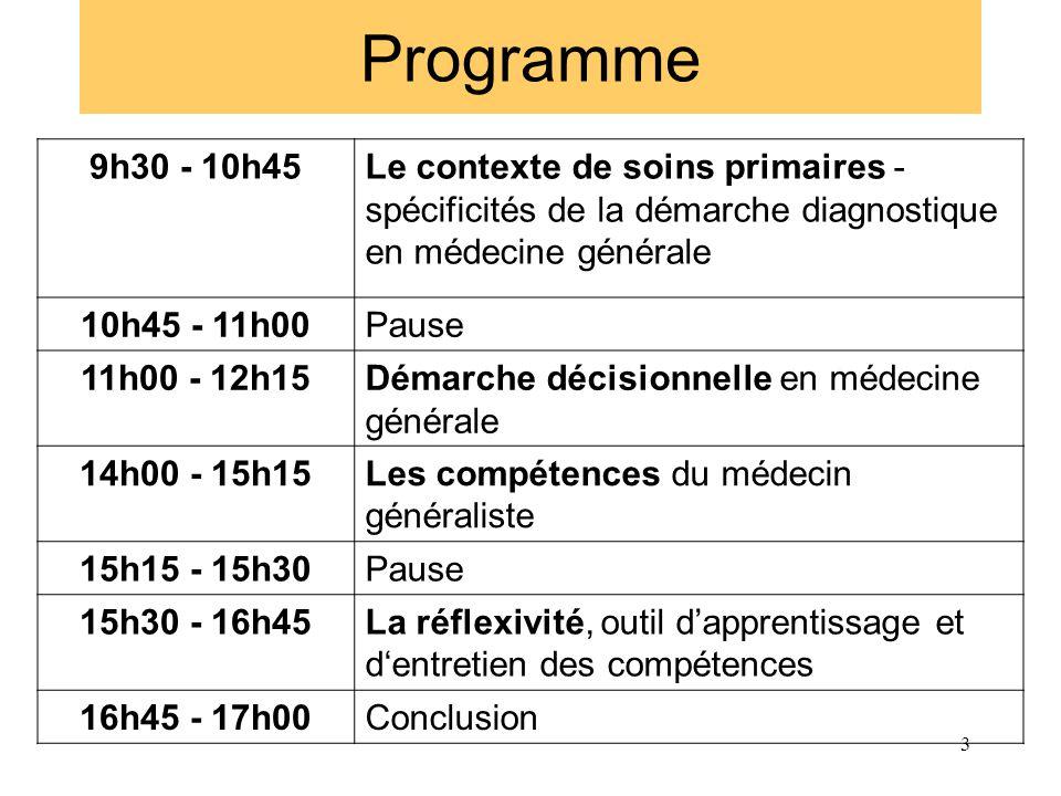 Programme 9h30 - 10h45Le contexte de soins primaires - spécificités de la démarche diagnostique en médecine générale 10h45 - 11h00Pause 11h00 - 12h15D