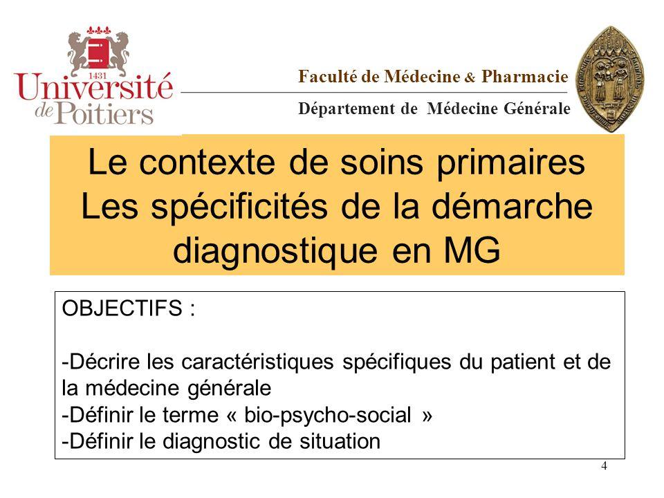 Le contexte de soins primaires Les spécificités de la démarche diagnostique en MG Faculté de Médecine & Pharmacie Département de Médecine Générale OBJ