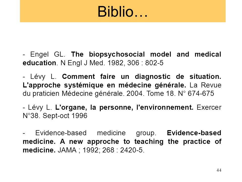 Biblio… - Engel GL. The biopsychosocial model and medical education. N Engl J Med. 1982, 306 : 802-5 - Lévy L. Comment faire un diagnostic de situatio