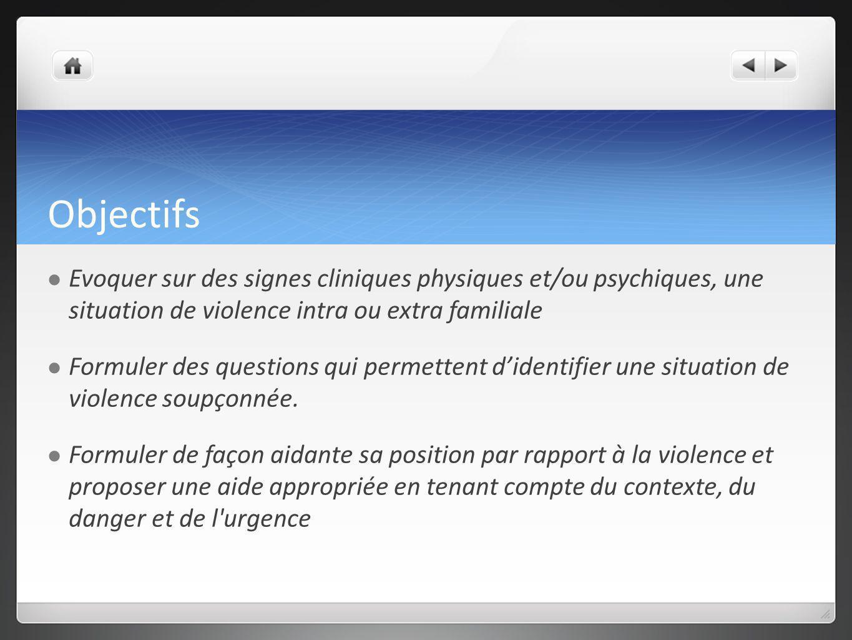 Objectifs Evoquer sur des signes cliniques physiques et/ou psychiques, une situation de violence intra ou extra familiale Formuler des questions qui p
