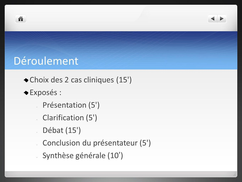 Déroulement Choix des 2 cas cliniques (15') Exposés : - Présentation (5') - Clarification (5') - Débat (15') - Conclusion du présentateur (5') - Synth