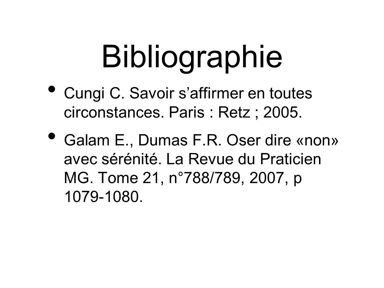 Bibliographie Cungi C. Savoir saffirmer en toutes circonstances. Paris : Retz ; 2005. Galam E., Dumas F.R. Oser dire «non» avec sérénité. La Revue du