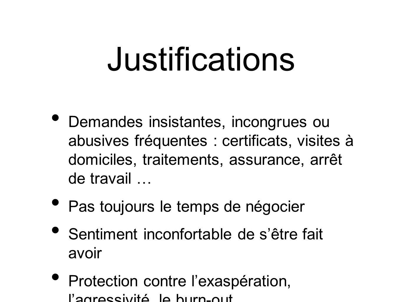 Justifications Demandes insistantes, incongrues ou abusives fréquentes : certificats, visites à domiciles, traitements, assurance, arrêt de travail …