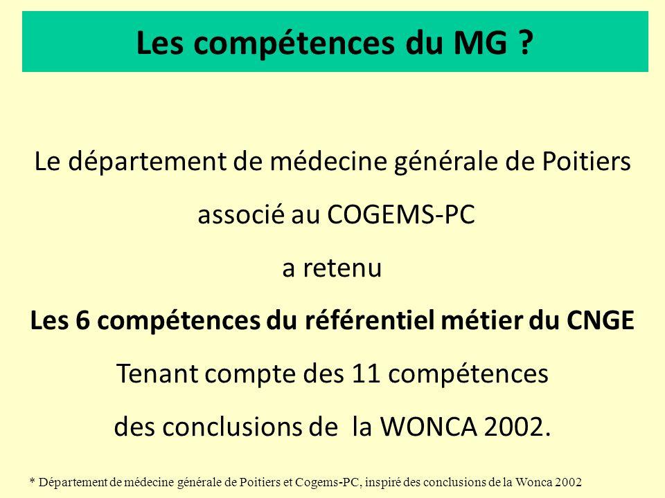 Les compétences du MG ? Le département de médecine générale de Poitiers associé au COGEMS-PC a retenu Les 6 compétences du référentiel métier du CNGE