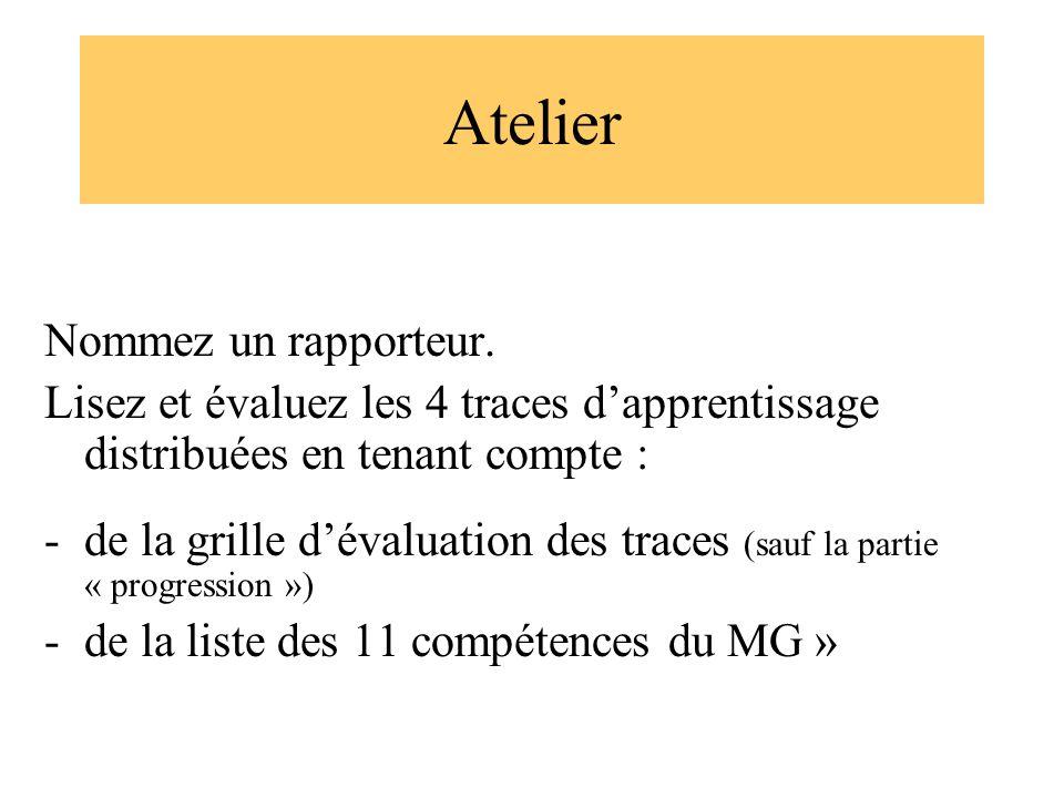 Atelier Nommez un rapporteur. Lisez et évaluez les 4 traces dapprentissage distribuées en tenant compte : -de la grille dévaluation des traces (sauf l