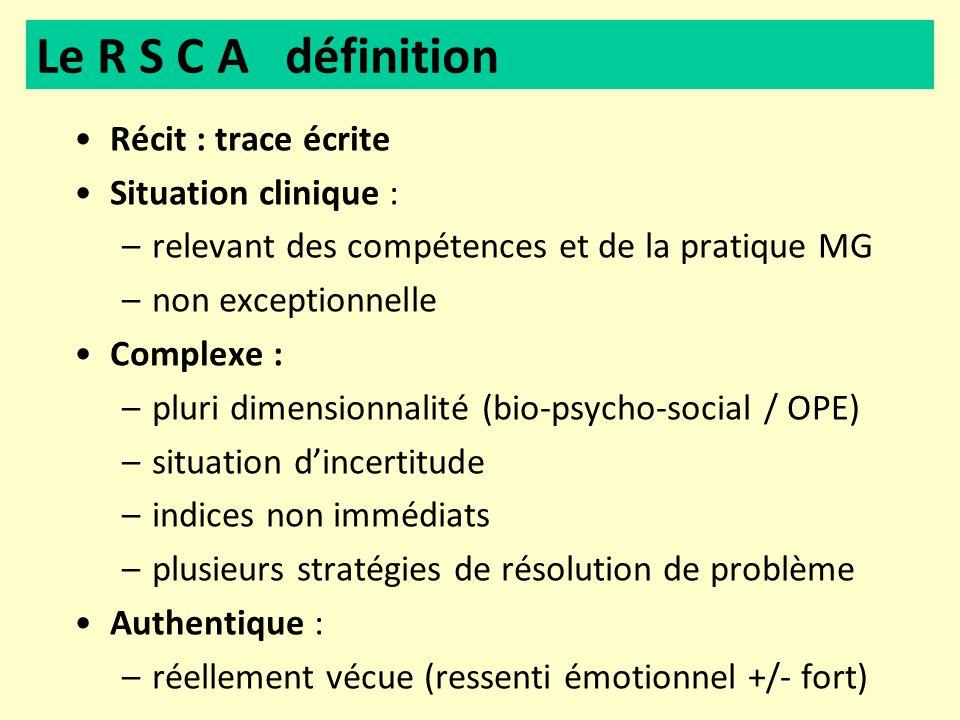 Récit : trace écrite Situation clinique : –relevant des compétences et de la pratique MG –non exceptionnelle Complexe : –pluri dimensionnalité (bio-ps