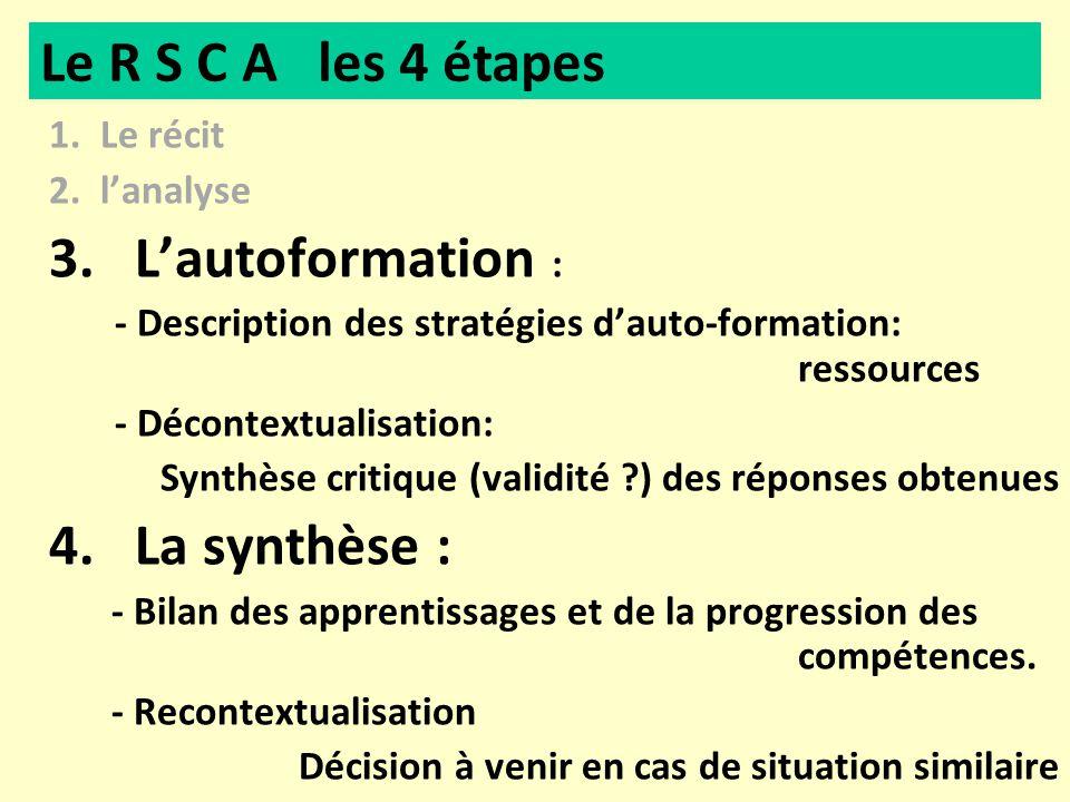 1. Le récit 2. lanalyse 3. Lautoformation : - Description des stratégies dauto-formation: ressources - Décontextualisation: Synthèse critique (validit