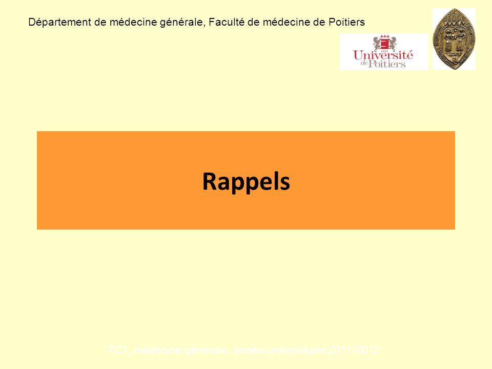 Rappels Département de médecine générale, Faculté de médecine de Poitiers TC1, médecine générale, année universitaire 2011-2012