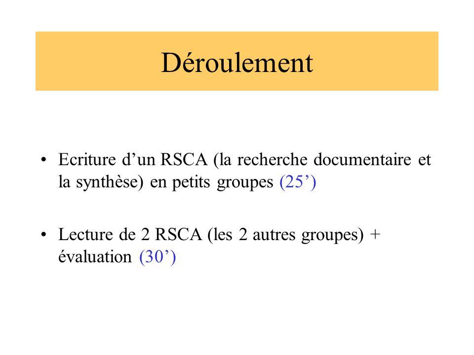 Déroulement Ecriture dun RSCA (la recherche documentaire et la synthèse) en petits groupes (25) Lecture de 2 RSCA (les 2 autres groupes) + évaluation