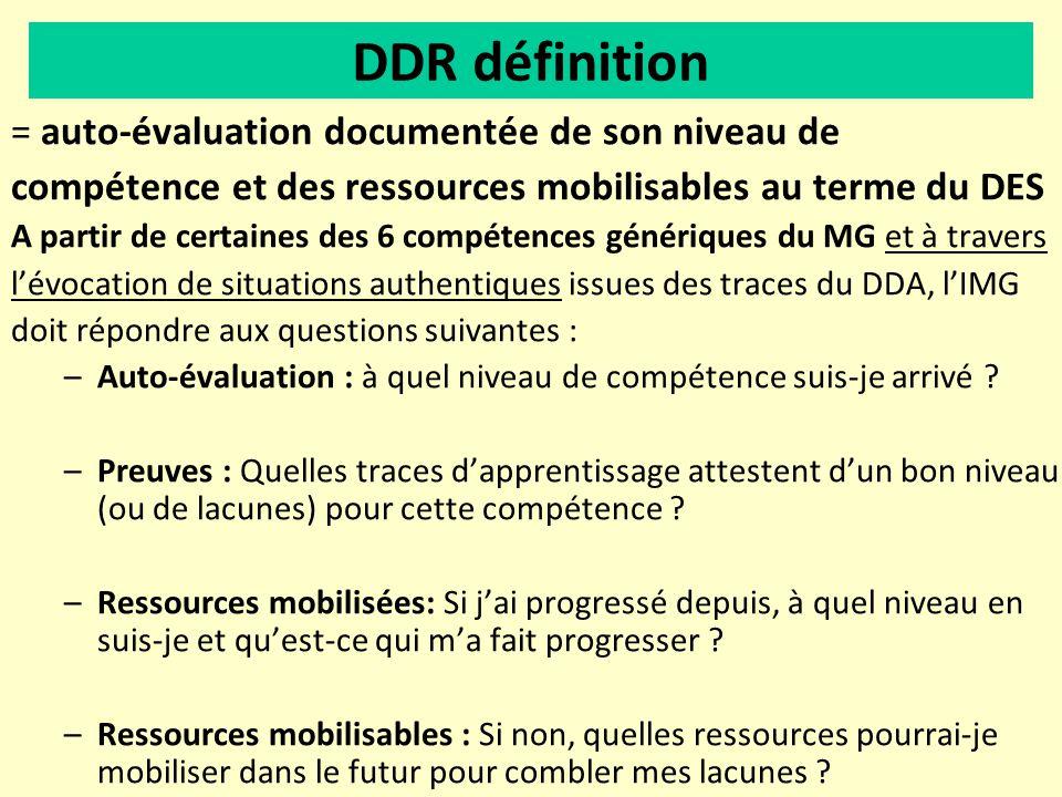 = auto-évaluation documentée de son niveau de compétence et des ressources mobilisables au terme du DES A partir de certaines des 6 compétences généri