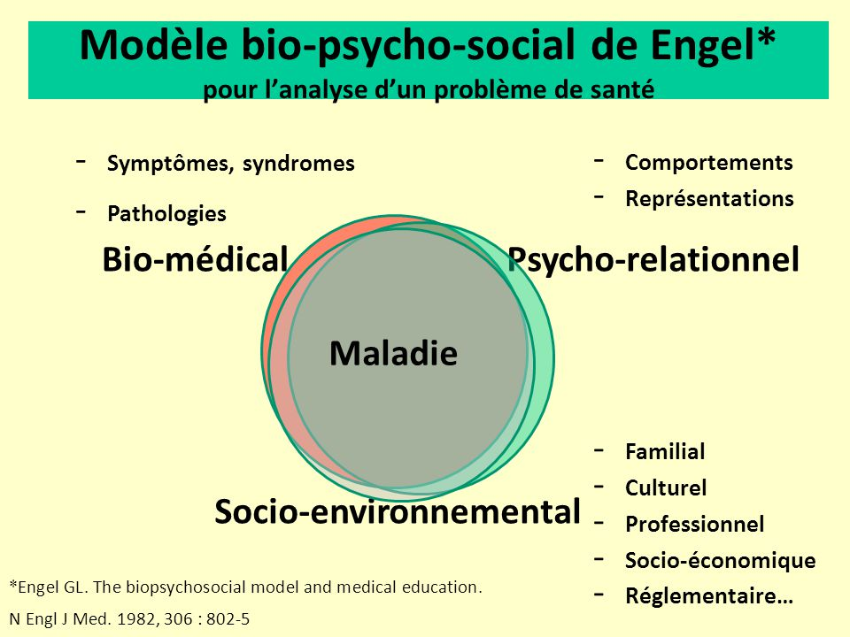 Modèle bio-psycho-social de Engel* pour lanalyse dun problème de santé * Engel GL. The biopsychosocial model and medical education. N Engl J Med. 1982