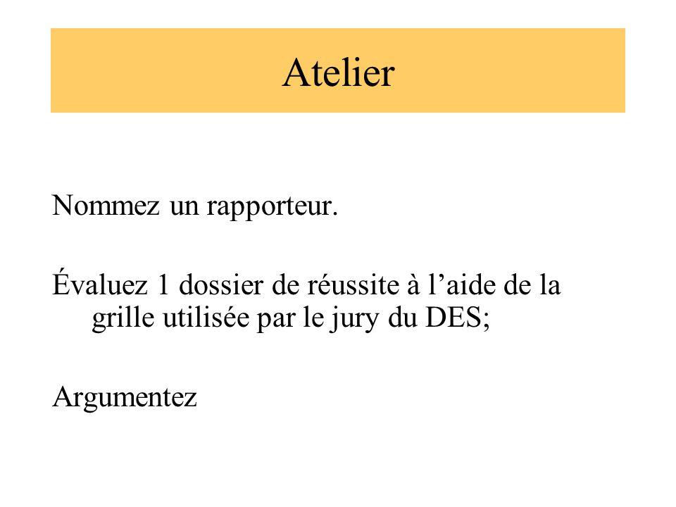 Atelier Nommez un rapporteur. Évaluez 1 dossier de réussite à laide de la grille utilisée par le jury du DES; Argumentez