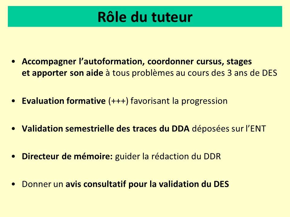 Accompagner lautoformation, coordonner cursus, stages et apporter son aide à tous problèmes au cours des 3 ans de DES Evaluation formative (+++) favor