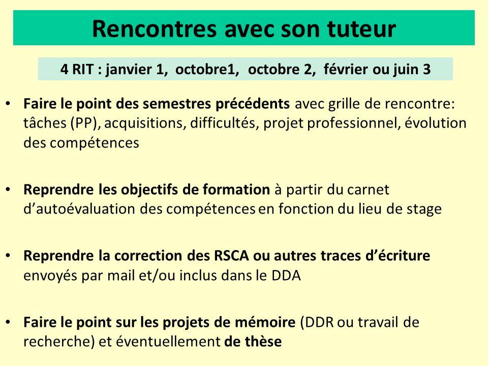 4 RIT : janvier 1, octobre1, octobre 2, février ou juin 3 Faire le point des semestres précédents avec grille de rencontre: tâches (PP), acquisitions,