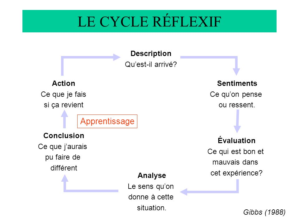 LE CYCLE RÉFLEXIF Gibbs (1988) Description Quest-il arrivé.