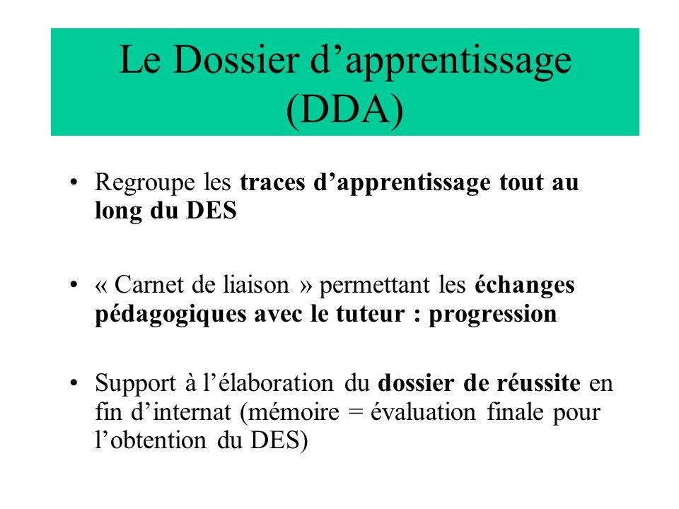 Le Dossier dapprentissage (DDA) Regroupe les traces dapprentissage tout au long du DES « Carnet de liaison » permettant les échanges pédagogiques avec