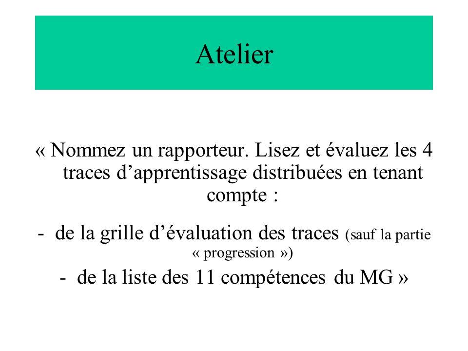 Atelier « Nommez un rapporteur. Lisez et évaluez les 4 traces dapprentissage distribuées en tenant compte : -de la grille dévaluation des traces (sauf