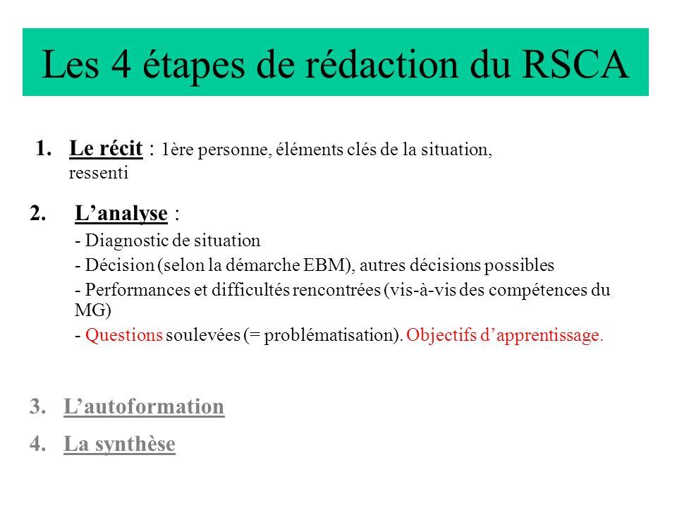 Les 4 étapes de rédaction du RSCA 2.Lanalyse : - Diagnostic de situation - Décision (selon la démarche EBM), autres décisions possibles - Performances
