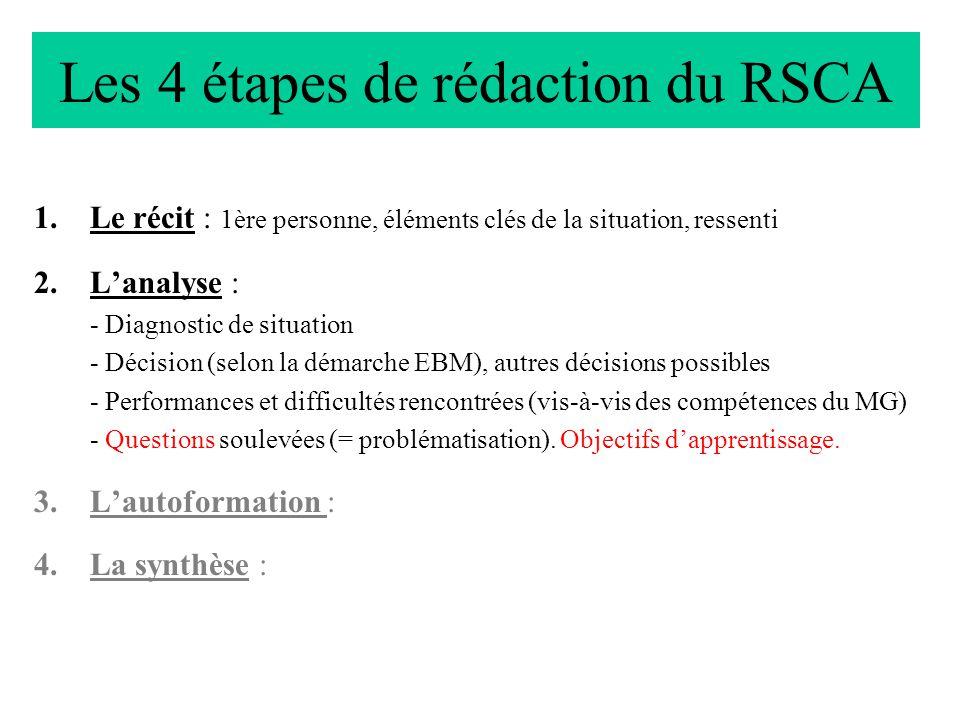 Les 4 étapes de rédaction du RSCA 1.Le récit : 1ère personne, éléments clés de la situation, ressenti 2.Lanalyse : - Diagnostic de situation - Décisio