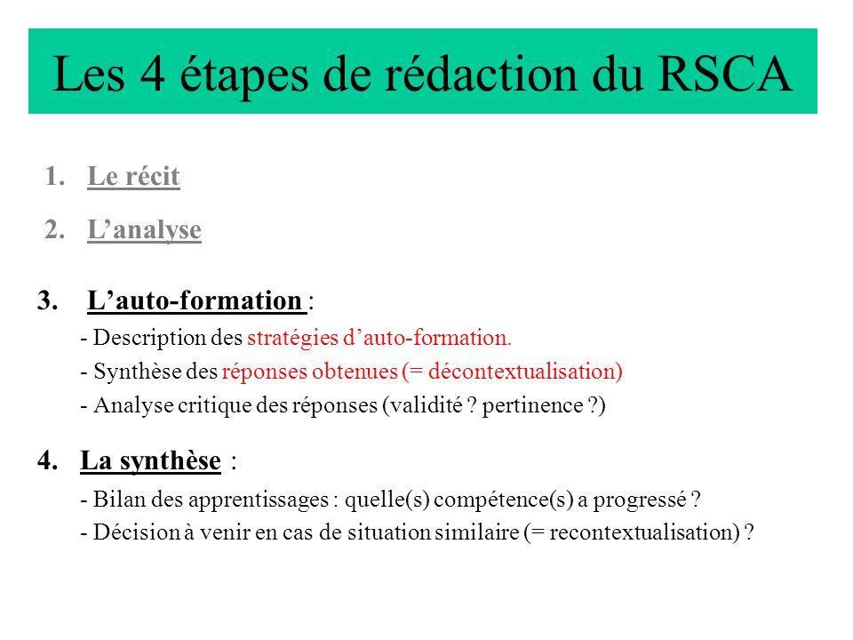 Les 4 étapes de rédaction du RSCA 3.Lauto-formation : - Description des stratégies dauto-formation. - Synthèse des réponses obtenues (= décontextualis