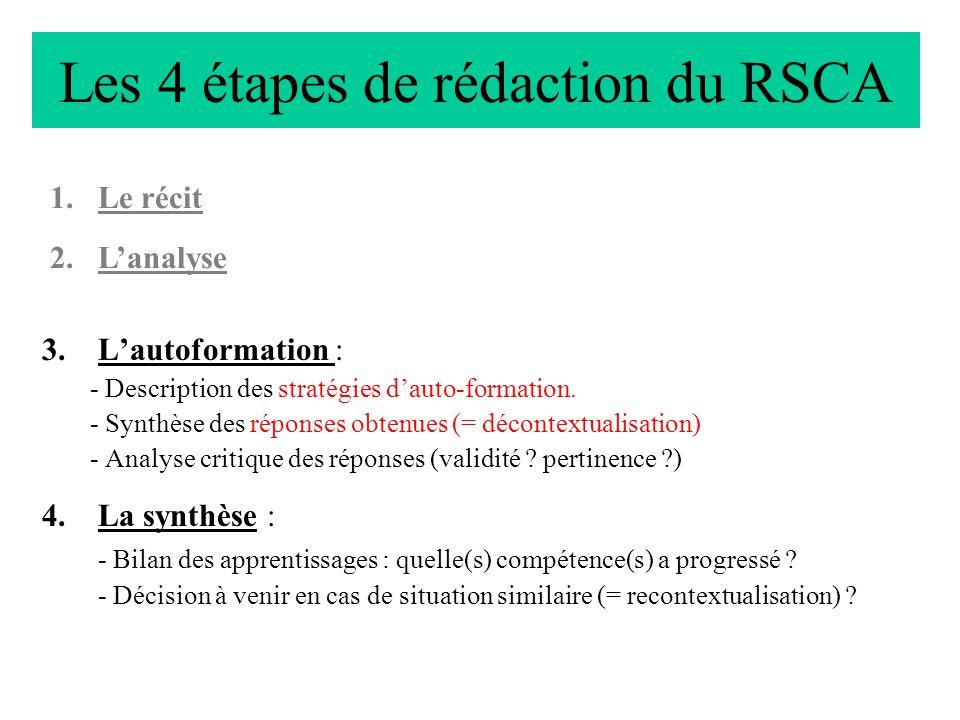 Les 4 étapes de rédaction du RSCA 3.Lautoformation : - Description des stratégies dauto-formation. - Synthèse des réponses obtenues (= décontextualisa