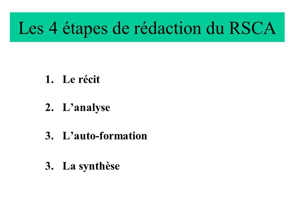 Les 4 étapes de rédaction du RSCA 1.Le récit 2.Lanalyse 3.Lauto-formation 3.La synthèse