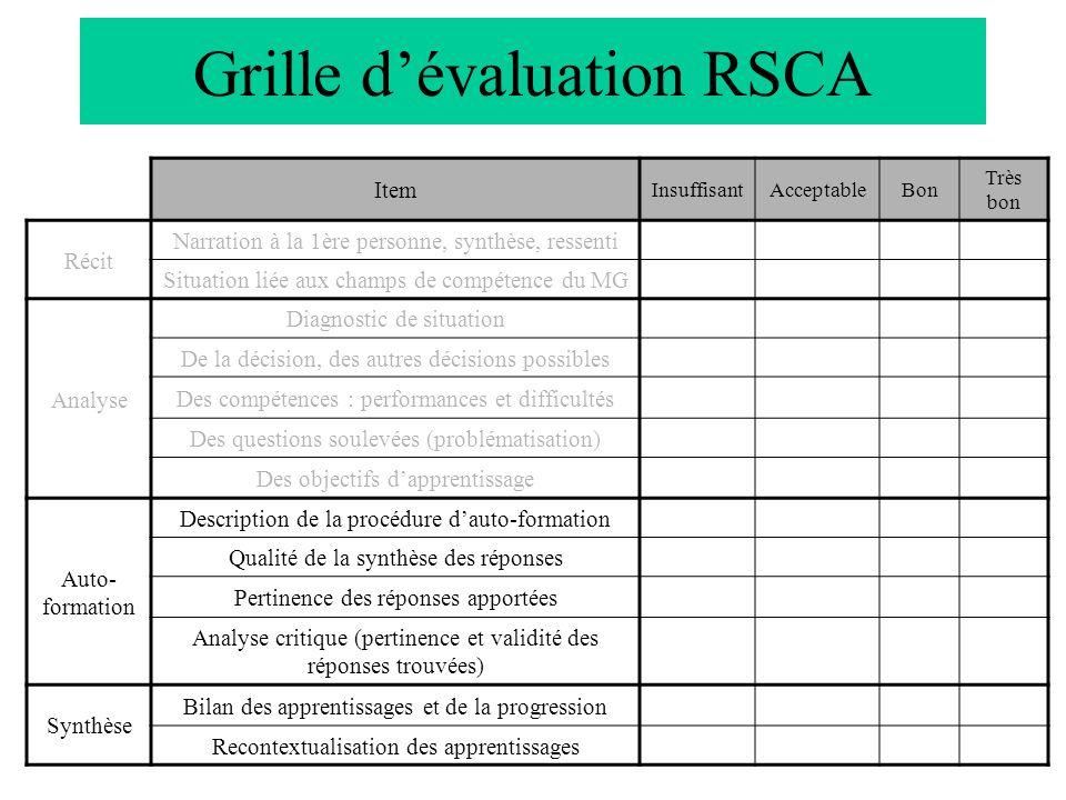 Grille dévaluation RSCA Item InsuffisantAcceptableBon Très bon Récit Narration à la 1ère personne, synthèse, ressenti Situation liée aux champs de com