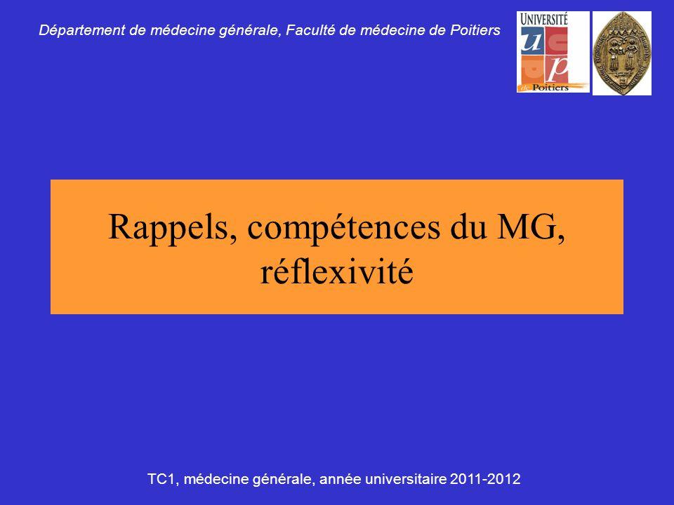 Rappels, compétences du MG, réflexivité Département de médecine générale, Faculté de médecine de Poitiers TC1, médecine générale, année universitaire