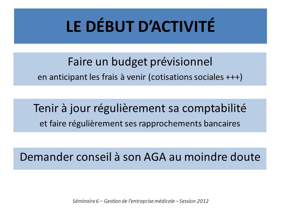 LE DÉBUT DACTIVITÉ Séminaire 6 – Gestion de lentreprise médicale – Session 2012 Demander conseil à son AGA au moindre doute Faire un budget prévisionn