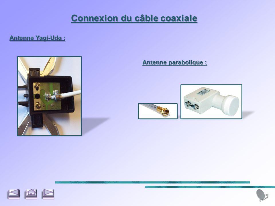 Connexion du câble coaxiale Antenne Yagi-Uda : Antenne parabolique :