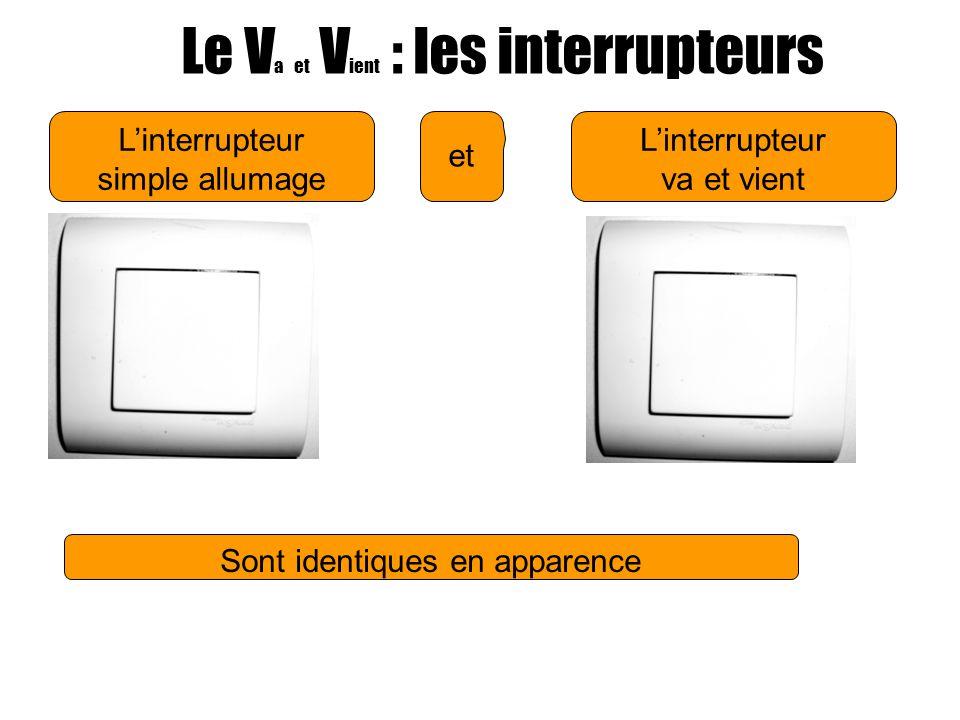 Linterrupteur simple allumage Le V a et V ient : les interrupteurs Linterrupteur va et vient et Sont identiques en apparence