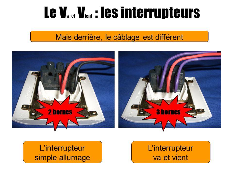 Linterrupteur simple allumage Le V a et V ient : les interrupteurs Linterrupteur va et vient Mais derrière, le câblage est différent 2 bornes3 bornes