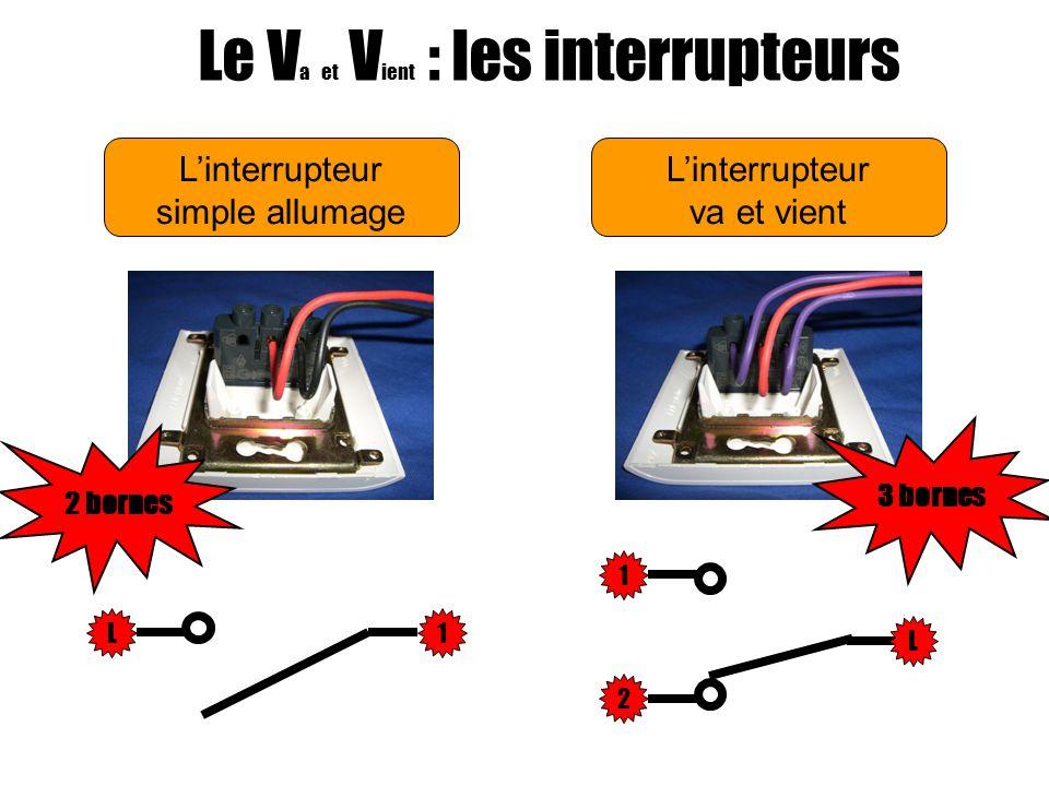 Linterrupteur simple allumage Le V a et V ient : les interrupteurs Linterrupteur va et vient L1L 1 2 Le circuit est ouvertEntre L et 1:Le circuit est ouvert Entre L et 2:Le circuit est fermé Entre 1 et 2:Le circuit est ouvert