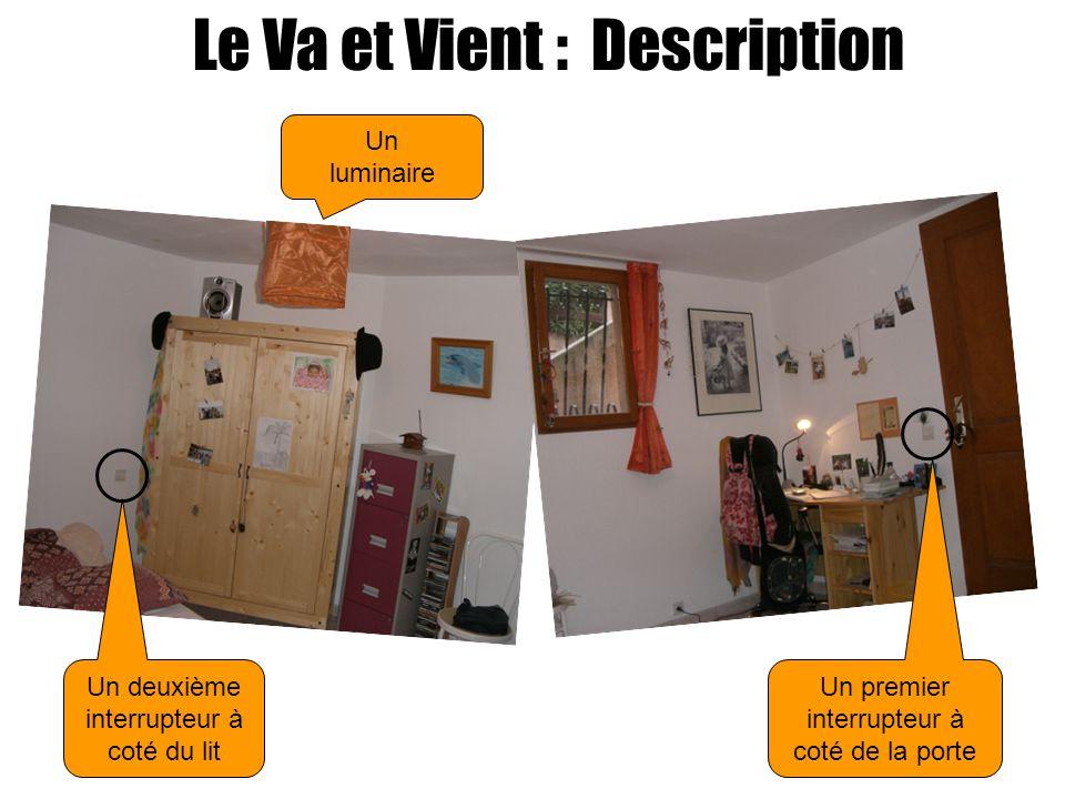 Le Va et Vient : Description Un luminaire Un deuxième interrupteur à coté du lit Un premier interrupteur à coté de la porte