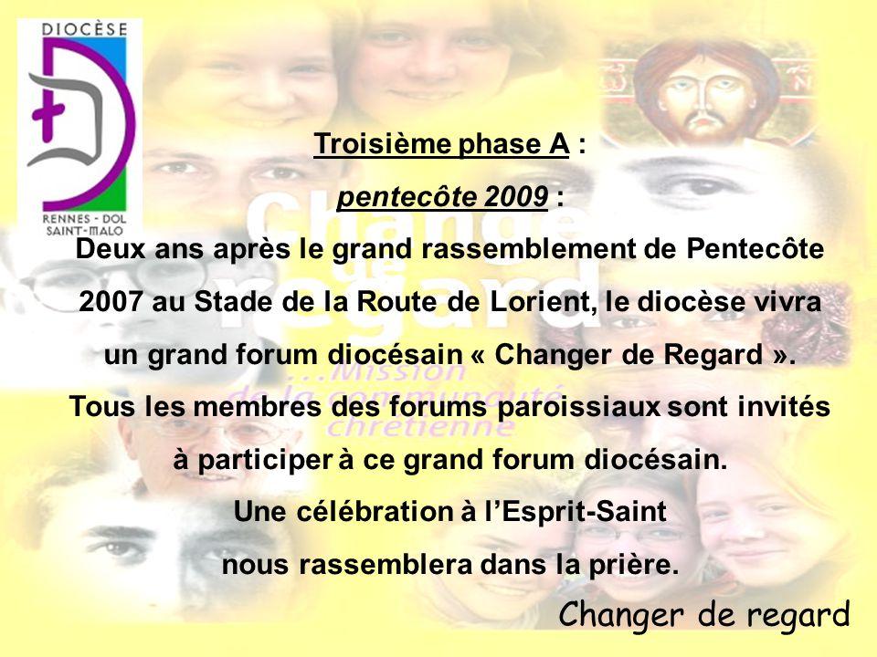 Changer de regard Troisième phase A : pentecôte 2009 : Deux ans après le grand rassemblement de Pentecôte 2007 au Stade de la Route de Lorient, le dio