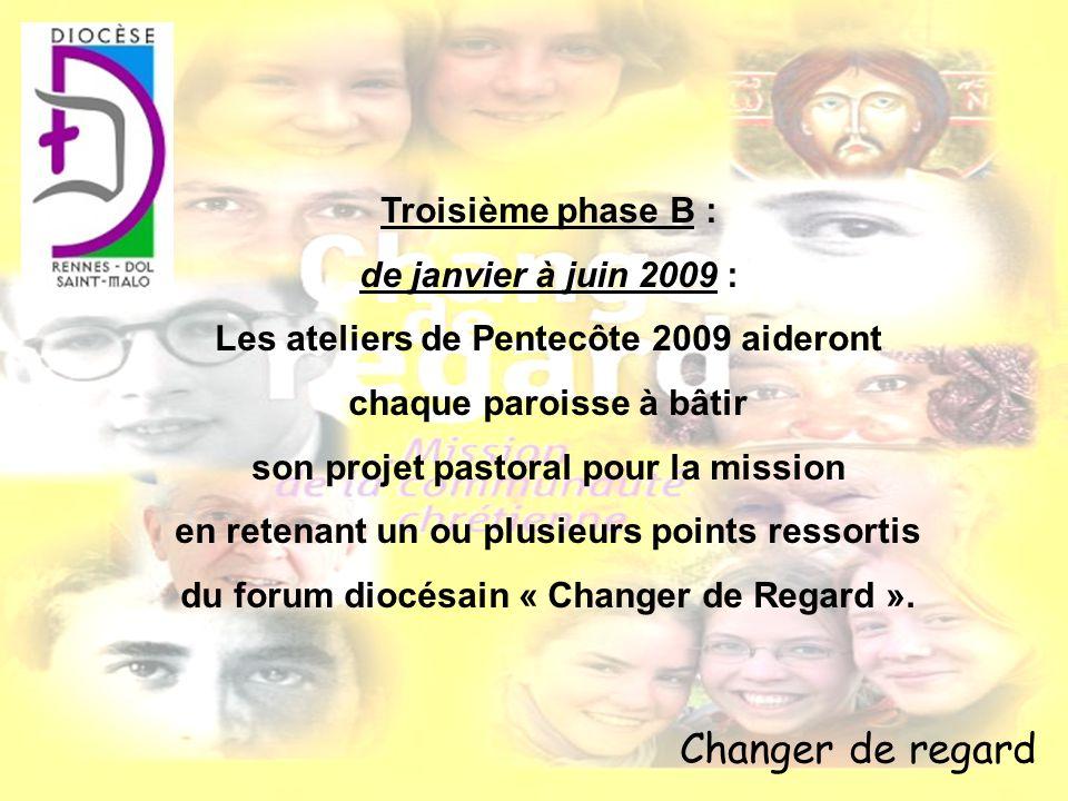 Changer de regard Troisième phase B : de janvier à juin 2009 : Les ateliers de Pentecôte 2009 aideront chaque paroisse à bâtir son projet pastoral pou