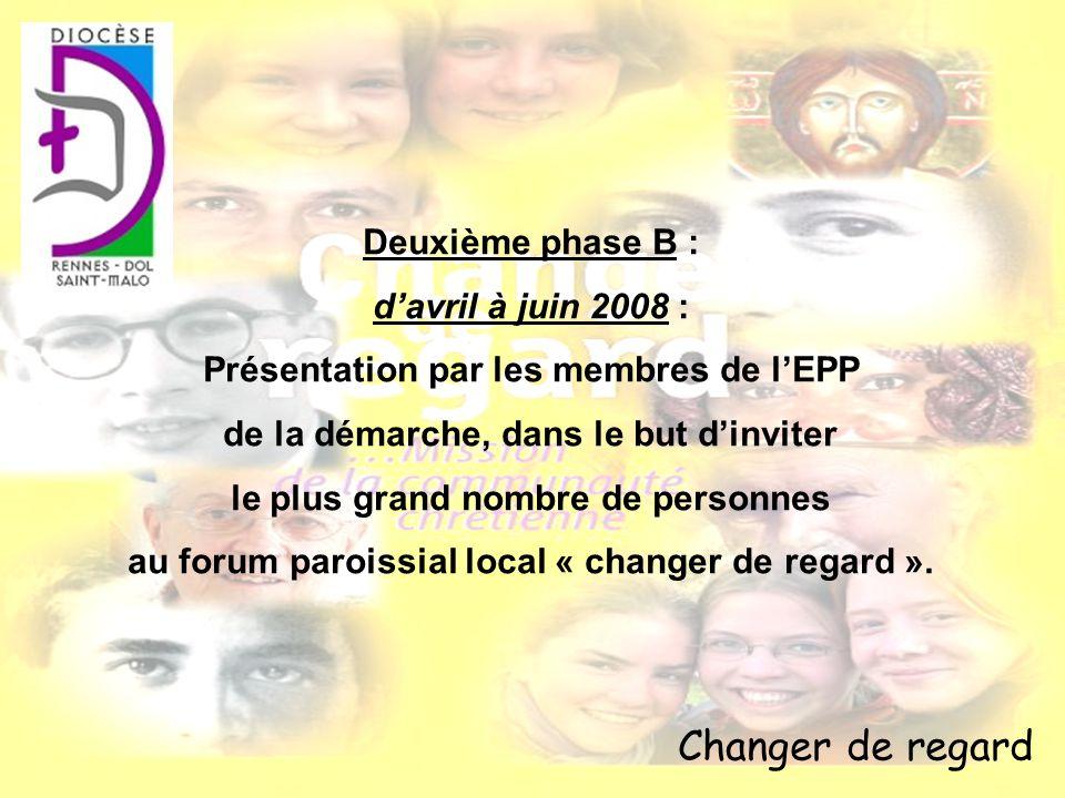 Changer de regard Deuxième phase B : davril à juin 2008 : Présentation par les membres de lEPP de la démarche, dans le but dinviter le plus grand nomb