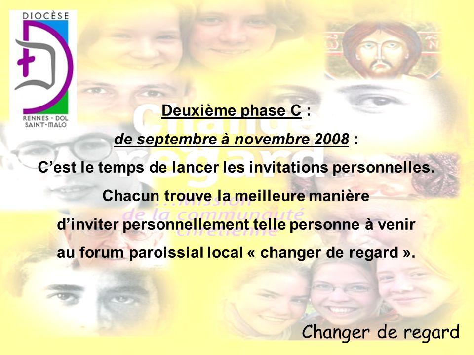 Changer de regard Deuxième phase C : de septembre à novembre 2008 : Cest le temps de lancer les invitations personnelles. Chacun trouve la meilleure m