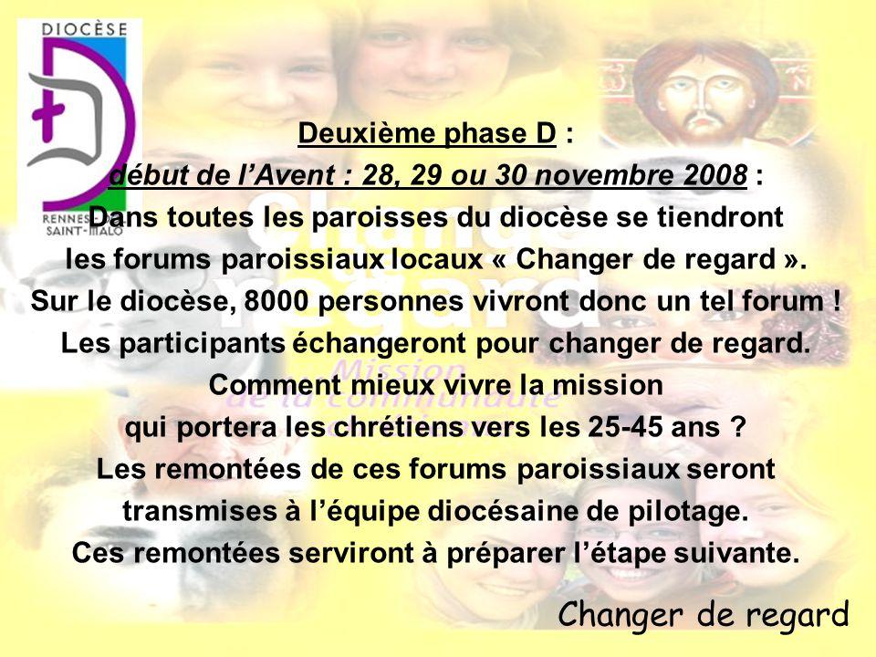 Changer de regard Deuxième phase D : début de lAvent : 28, 29 ou 30 novembre 2008 : Dans toutes les paroisses du diocèse se tiendront les forums paroi