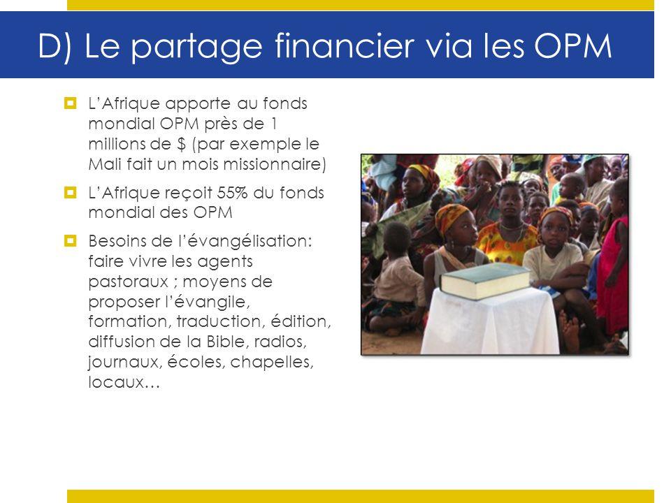 D) Le partage financier via les OPM LAfrique apporte au fonds mondial OPM près de 1 millions de $ (par exemple le Mali fait un mois missionnaire) LAfr