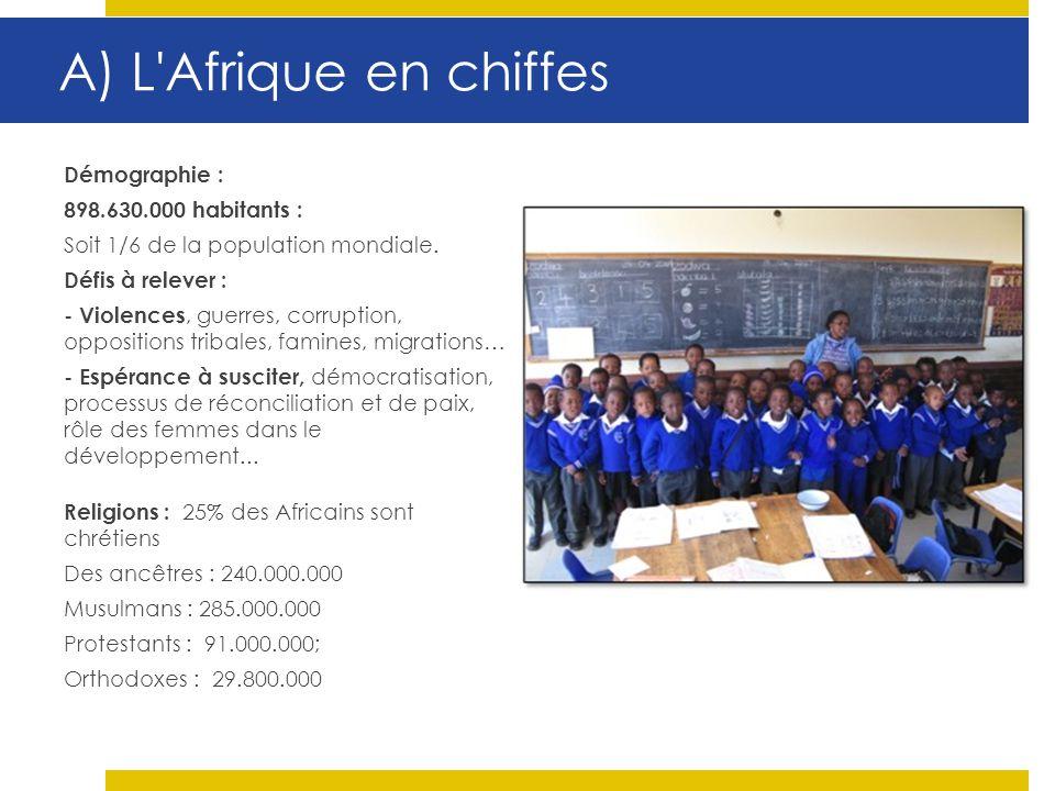 A) L'Afrique en chiffes Démographie : 898.630.000 habitants : Soit 1/6 de la population mondiale. Défis à relever : - Violences, guerres, corruption,